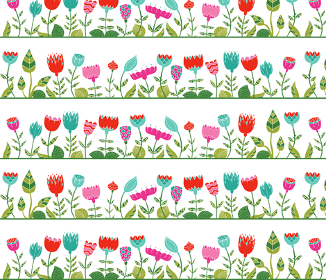 floral wall fabric by dinaramay on Spoonflower - custom fabric