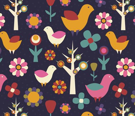 birds and flowers fabric by khandisha on Spoonflower - custom fabric