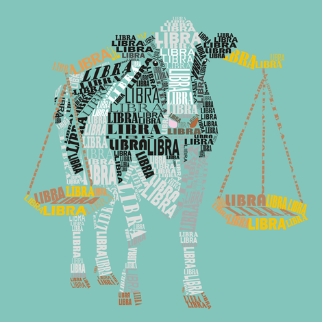 Libra the Cow Holding the Scales fabric by smuk on Spoonflower - custom fabric