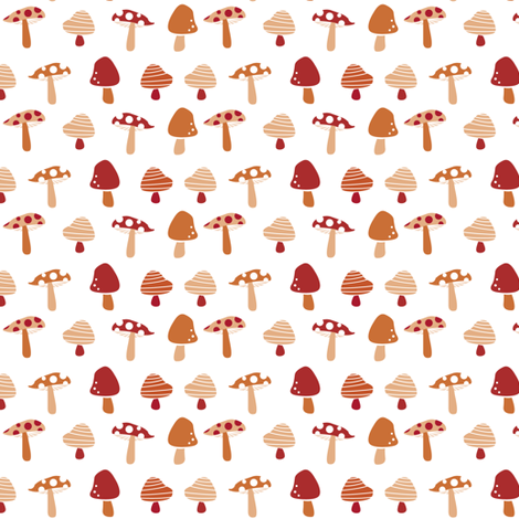 mushrooms fabric by laura_the_drawer on Spoonflower - custom fabric