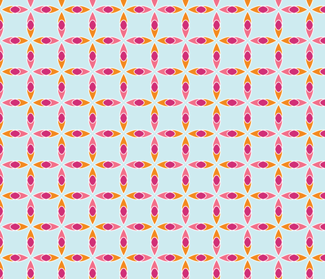 Interlocking Flowers BluePinkOrange fabric by jillbyers on Spoonflower - custom fabric