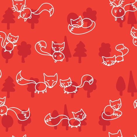 foxes doodle_white on red fabric by owls on Spoonflower - custom fabric