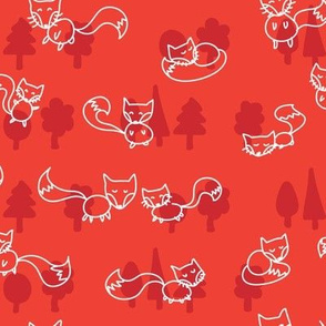 foxes doodle_white on red