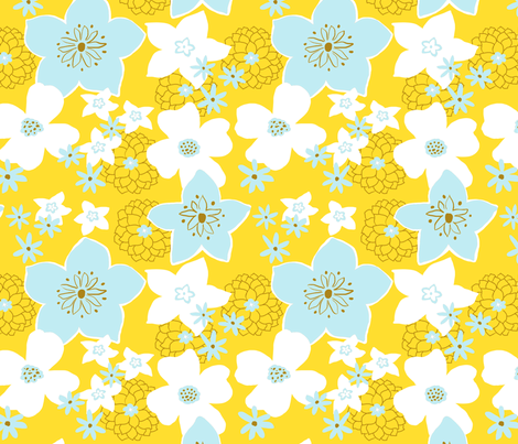 Mod Floral Yellow and Blue fabric by vinpauld on Spoonflower - custom fabric