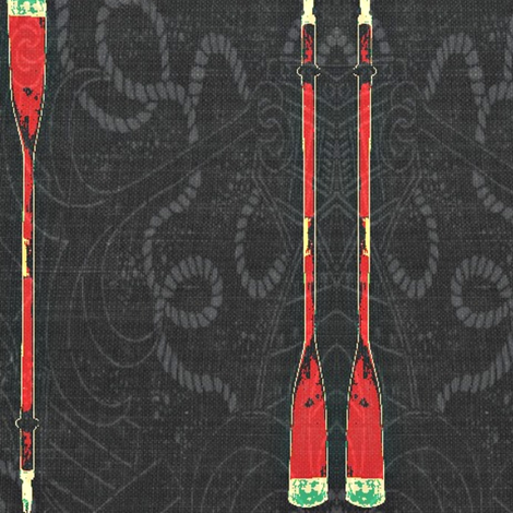 Sailor's D'oar - charcoal, red, white, green fabric by materialsgirl on Spoonflower - custom fabric