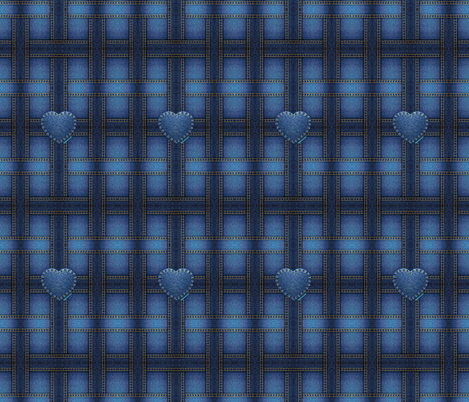 denim heart fabric by krs_expressions on Spoonflower - custom fabric