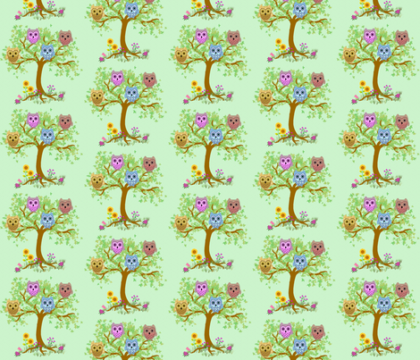 owls in the tree fabric by krs_expressions on Spoonflower - custom fabric