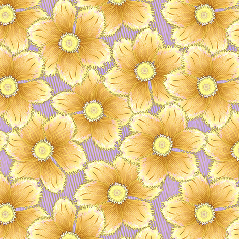 FRINGED FLORAL GOLD fabric by glimmericks on Spoonflower - custom fabric