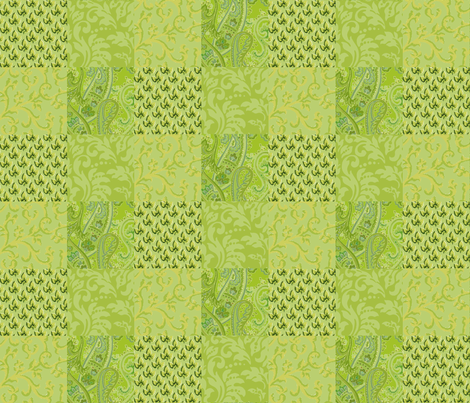 Green_Signature_Collage fabric by kelly_a on Spoonflower - custom fabric