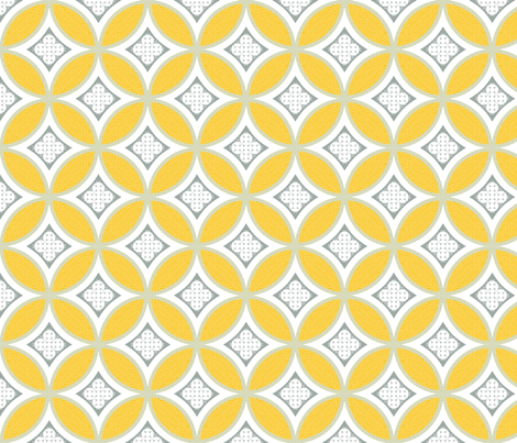 Mexican Mod Tile -- lucia yellow + olive grey fabric by marcador on Spoonflower - custom fabric