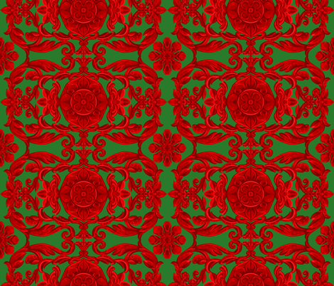 India Window Red on Green fabric by ninniku on Spoonflower - custom fabric