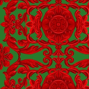 India Window Red on Green