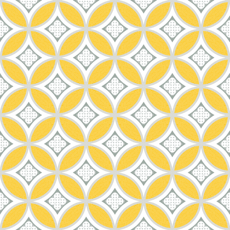 mexican mod tile - sunny yellow fabric by marcador on Spoonflower - custom fabric