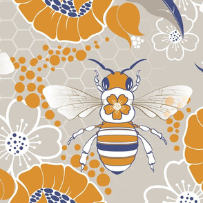 Beats N Bees Floral in Blue & Orange