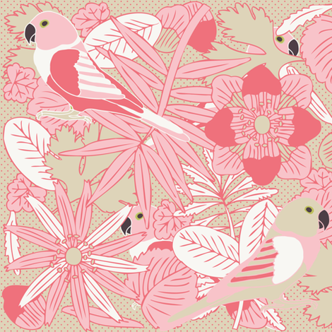 Botanic & Birds - Pink fabric by owlandchickadee on Spoonflower - custom fabric