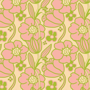 Big Mod Floral 12 inch Pink Green