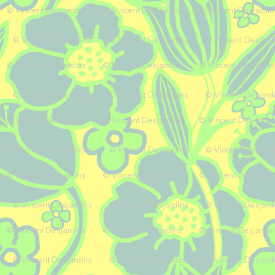 Big Mod Floral 12 inch Blue Green Yellow