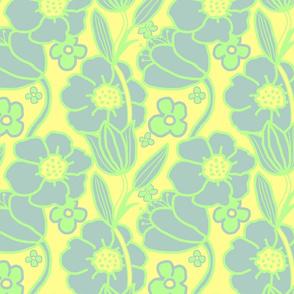Big Mod Floral 12 inch Blue Green Yellow