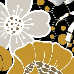Beats N Bees Floral in Black, Gold & Silver