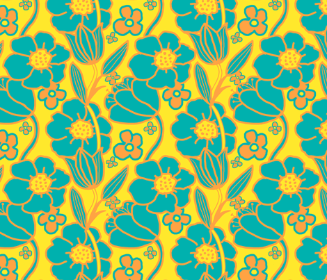 Big Mod Floral 8 inch Teal Orange Yellow fabric by vinpauld on Spoonflower - custom fabric
