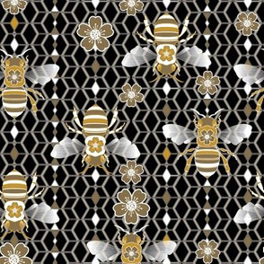 Geo Bees Black, Gold & Silver