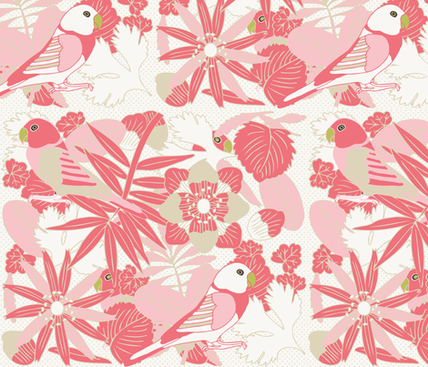 Botanic & Birds - Coral fabric by owlandchickadee on Spoonflower - custom fabric