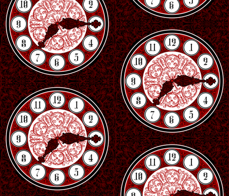Fancy Giant Clock Face fabric by ninniku on Spoonflower - custom fabric