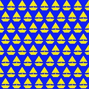 Sailor Boat Yellow on Blue