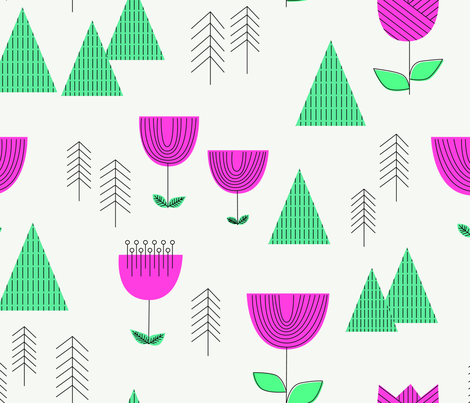mod landscape fabric by cleverviolet on Spoonflower - custom fabric