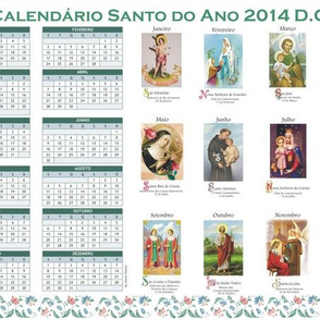 Tea Towel 2014 Calendar in Portuguese