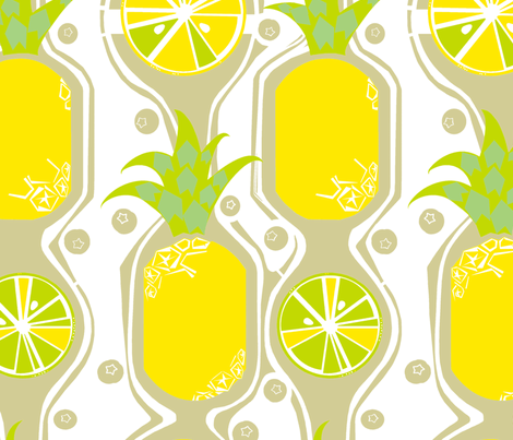 Pineapple and Citrus Fruit fabric by wren_leyland on Spoonflower - custom fabric