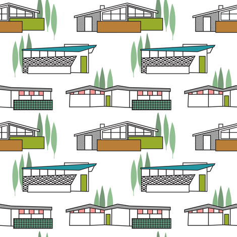 Mid-Century Homes fabric by vo_aka_virginiao on Spoonflower - custom fabric