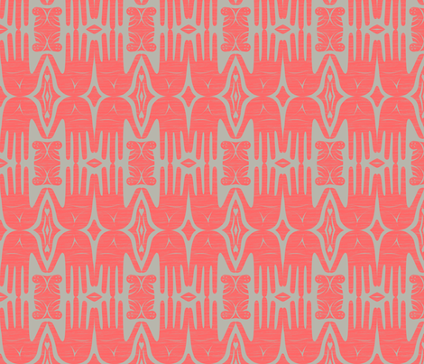 handiwork  coral fabric by glimmericks on Spoonflower - custom fabric