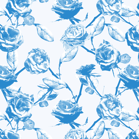Photo of Roses Pattern (blue) fabric by lusyspoon on Spoonflower - custom fabric