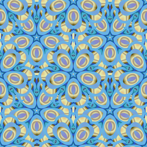 Lavender and gold kaleidoscope feathers fabric by eclectic_house on Spoonflower - custom fabric