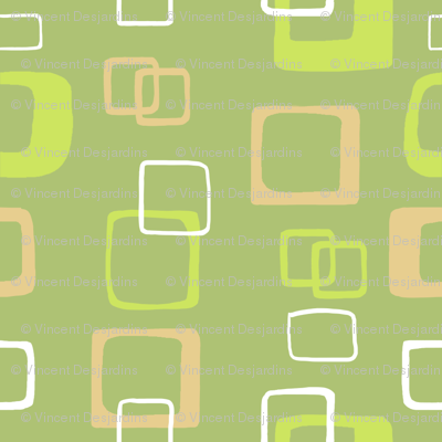 Mod Abstract Green Tan and White