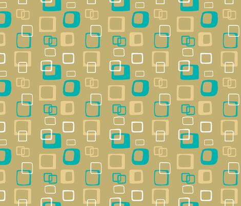 Mod Abstract Tan and Teal fabric by vinpauld on Spoonflower - custom fabric