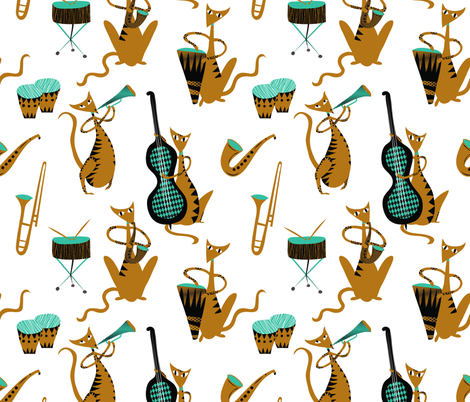 Cool Daddy-o Jazz Cats fabric by vo_aka_virginiao on Spoonflower - custom fabric