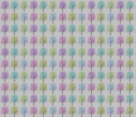 Cherry Blossom Trees of Color fabric by vos_designs on Spoonflower - custom fabric