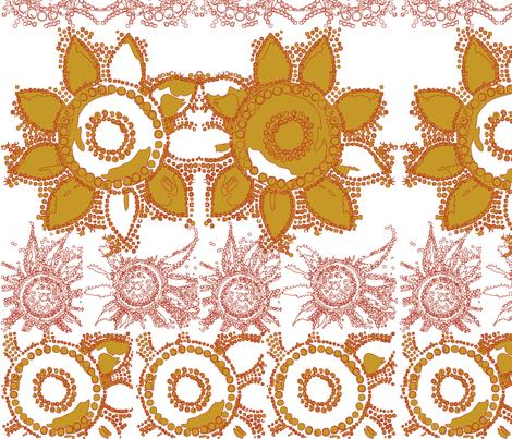 flowerpower_mod_wallpaper_orange fabric by tat1 on Spoonflower - custom fabric
