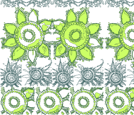 flowerpower_mod_wallpaper_green fabric by tat1 on Spoonflower - custom fabric