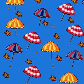 Beach Umbrellas and Starish Deep Blue