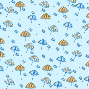 Beach Umbrellas and StarFish Light Blue Blue