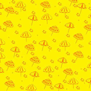 Beach Umbrellas and StarFish Yellow ellow