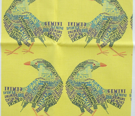 Gemini the Twin Bower Birds Yellow