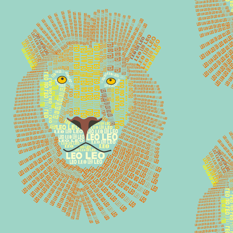 Leo the Lion Olive fabric by smuk on Spoonflower - custom fabric