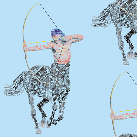 Sagittarius the Centaur Blue fabric by smuk on Spoonflower - custom fabric