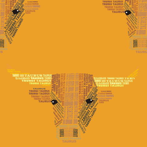 Taurus the Bull Orange fabric by smuk on Spoonflower - custom fabric