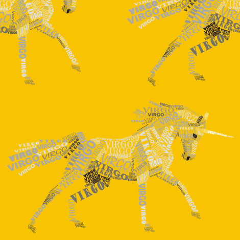 Virgo the Virginal Unicorn Goldenrod fabric by smuk on Spoonflower - custom fabric