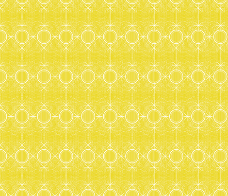 Fancy mustard atomic stars fabric by seabluestudio on Spoonflower - custom fabric